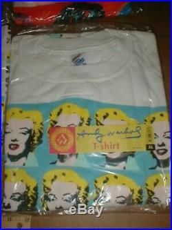 12 vtg new authentic Andy Warhol t-shirt lot XL $$-signs + Marilyn Monroe face