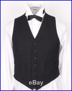 1920s Waistcoat Vintage Mens Black Wool Vest