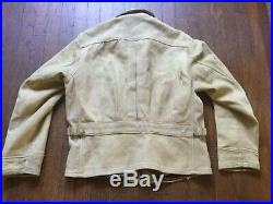 1930s 40s True Vintage Leather Cossack Style Jacket Buckle Back