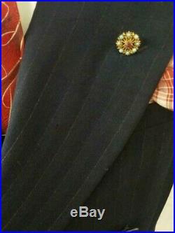 1930s Hollywood Clothes Blue Chalk Stripe DB Suit Jacket Deco Dapper Vintage