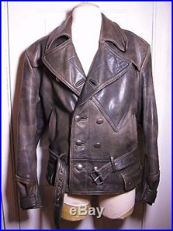 89f6e9b1ddd 1940s WW2 German Style Hein Gericke German Motorcycle leather jacket sz 40