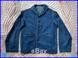 1940s WWII Denim Shawl Collar Deck Jacket M Medium 40s Rare Vintage USN Navy WW2