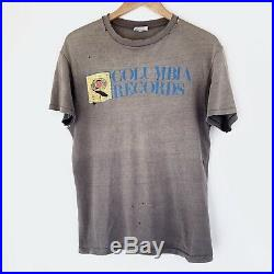 1980 Columbia Records Vintage Promo Music Tee Shirt Record Label 80s Thrashed