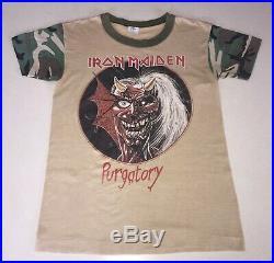 1981 Iron Maiden ALIVE PURGATORY Camo Sleeve Concert T-Shirt Heavy Metal Retro
