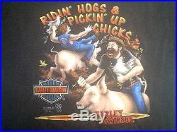 1989 3d Emblem Ridin Hogs & Pickin Up Chicks Arkport N. Y Harley Davidson T-shirt