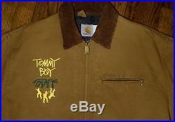 1992 Carhartt Stussy Tommy Boy Staff jacket vtg 90s hip hop rap shirt 46 L/XL
