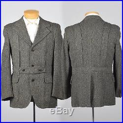 40R 1970s Mens Herringbone Wool Tweed Belted Norfolk Jacket Fancy Back 70s VTG