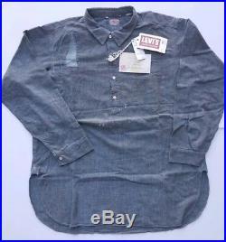 $485 Levis LVC Vintage Clothing Sunset Chambray 1920s Shirt Indigo Men's Sz XL