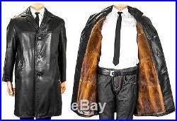 48 Herren Ledermantel Leder Pelzfutter Bisam muskrat fur lining leather coat men