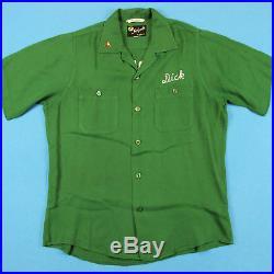 50s KING LOUIE Vintage Bowling Shirt Men M Dick Clark Chain Stitch Rayon