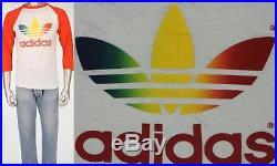80s Vintage Adidas Multicolor Rainbow Trefoil Raglan USA Made T Shirt