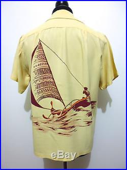AUTH CATALINA VINTAGE 40s WWII Camicia Uomo Rayon Gabardine Man Shirt Sz. M