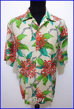 AUTH HAWAII VINTAGE 40s WWII Camicia Uomo Seta Man Hawaian Silk Shirt Sz. XL