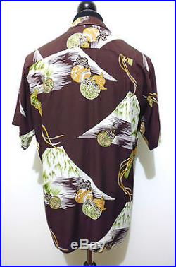 AUTH HAWAII VINTAGE 50s WWII Camicia Uomo Gabardine Man Hawaian Shirt Sz. L