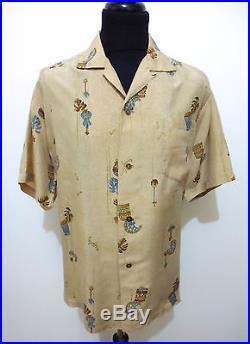 AUTH HAWAII VINTAGE 50s WWII Camicia Uomo Seta Man Hawaian Silk Shirt Sz. XL