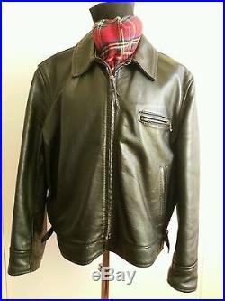 Aero Leather Highwayman authentic vintage black leather jacket sz UK 46 IT 54