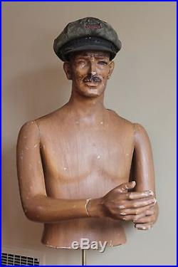 Antique VTG Mens Clothing 1940s Mannequin Torso Store Display Stand Gas Oil Rare