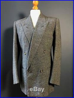 Arc 222 Vintage 1930's 1940's double breasted tweed suit size 38 40 long