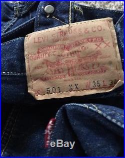 Authentic Vintage Levi's 501xx Denim Blue Jean Hidden Rivets Redline Big E Sz 33