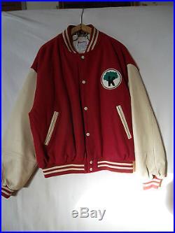 Blouson Teddy Kinder cuir et laine vintage jacket teddy Kinder