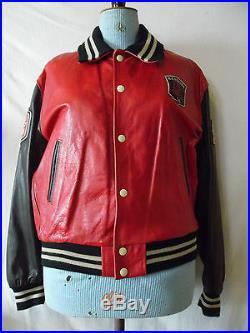 Blouson Teddy Redskins cuir rouge vintage Jacket red leather Redskins