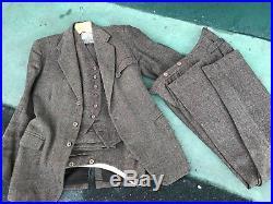 Classic Tweed 3/4 peice suit vintage 1940s 50s 38-40 mens bespoke savile row