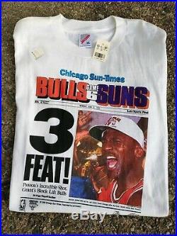DEADSTOCK 90s VTG Chicago Bulls MICHAEL JORDAN 1993 Sun Times RAP tee Shirt XL