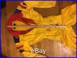DESCENTE Mens L Large One piece Ski Suit Snowsuit Snow Bib Jacket Neon Vintage