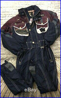 DESCENTE Mens Large One piece Ski Suit Snowsuit Snow Bib Jacket Vintage 90s