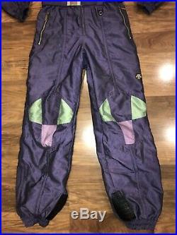 DESCENTE One Piece SKI SUIT Snow Bib retro Snowsuit vtg 80s Purple MENS MEDIUM