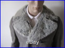 EUC VTG mens 70s MELTON CLOTH MILITARY STYLE COAT FAUX FUR COLLAR CANADA 40