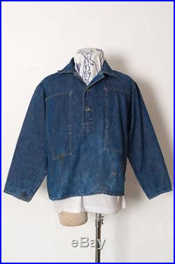 EXTRA RARE VTG 1930'S PRE WWII US ARMY PULL OVER DENIM WORK JACKET DONUT BUTTON