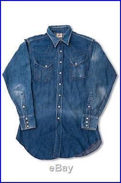 EXTRA RARE VTG 1950'S Wrangler BULE BELL WESTERN Denim Shirt SANFORIZED
