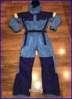 Gore Tex REI Blue Mens MEDIUM vtg One piece SKI SUIT Snow Bib Shell Snowsuit M