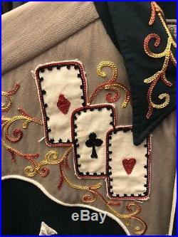 H Bar C Vintage 1940s/50's Embroidered Western Shirt Poker Cards, Size Medium