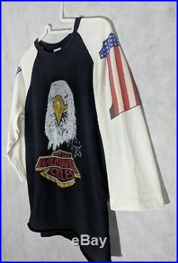 Harley Davidson Vintage 70s 3/4 Sleeve Eagle #1 Jack Daniels T Shirt Medium 5050