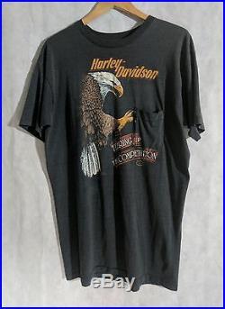 Harley Davidson Vintage 80s 3D Emblem San Diego 2 Sides T Shirt XL