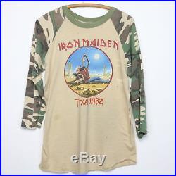 Iron Maiden Shirt Vintage tshirt 1982 Beast Tames Texas Tour Camo Heavy Metal