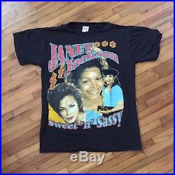 JANET JACKSON Vintage 90s Rap Tee Double Sided Print Sz L T Shirt 1990s Tour