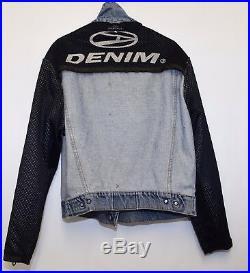 Jt280 Vtg John Richmond Destroy Mens Denim Jacket With Faux Leather Sleeves L