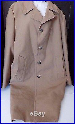 LONDON FOG Vintage Men's 44 LONG Camel Khaki Heavy Virgin Wool Snow Cloth Lined