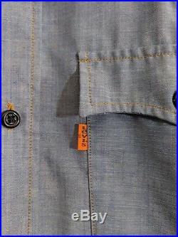 Levis Vintage 70s Denim Chambray Western Shirt Handmade Patchwork Custom L