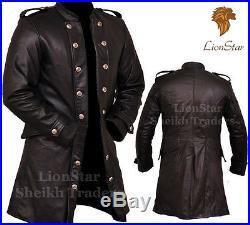 Lionstar Men 3 Quarter Gothic Steampunk Vintage Military Fancy Leather Coat