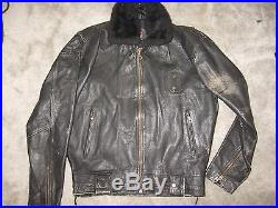 Men's Vintage Police Motorcycle Jacket Softball Clothing size L Black Leather