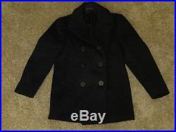Men's Vtg 50s Neat NAVAL CLOTHING DEPOT Blue Wool Kersey U. S Navy Peacoat Sz-40
