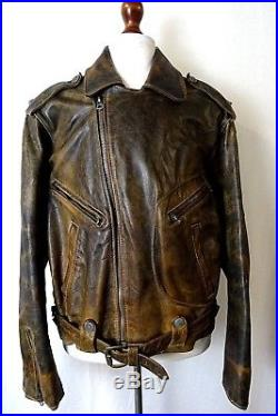 Men's WW2 Vintage French Aviator Flight Biker Motorcycle Jacket Size 48R KB277