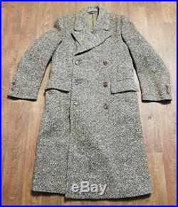 Mens 1940s WWII CC41 X212 Herringbone Wool Overcoat UK Medium Vintage Clothing