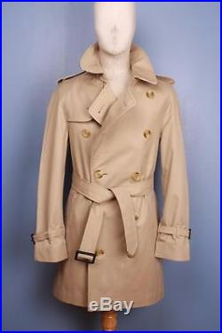 Mens BURBERRY Double Breasted Short TRENCH Coat Mac Beige Size 36