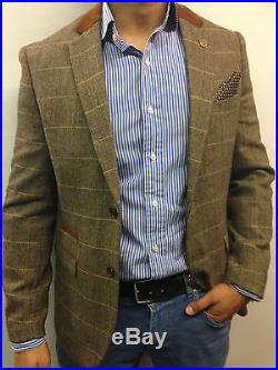 Mens Designer Marc Darcy Tweed look Herringbone Vintage Jacket Checked Blazer