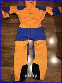 Mens Large MARMOT Orange One Piece SKI SUIT Snow Bib Shell vtg Snowsuit GORE TEX